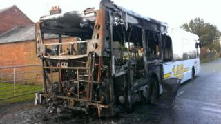 Burnt out bus