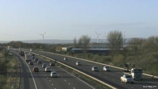 View of the proposed wind turbines