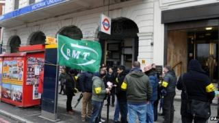 A picket line outside Victoria Station during the strike earlier this month