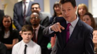 Deputy Prime Minister Nick Clegg at Bishop Challoner Catholic Collegiate School, in east London, on Tuesday