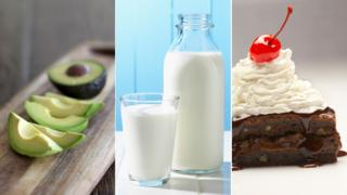 Avacados, milk, brownie with whipped cream