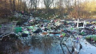The travellers say they have no choice but to dump their rubbish on the site because they do not have bins