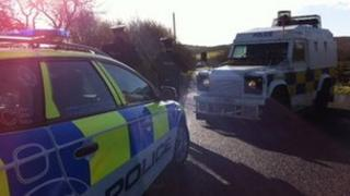The scene of the alert outside Ballykelly, County Londonderry