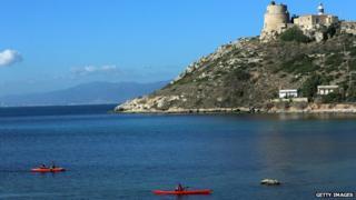 A view of Calamosca on the Sardinian coast