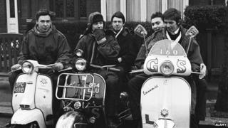 Mods on scooters, 1964