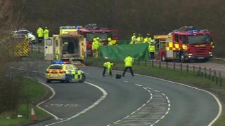 Scene of car crash on A1114