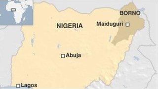 Map showing Nigeria