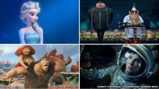 Composite image of Frozen, Despicable Me 2, The Croods and Gravity