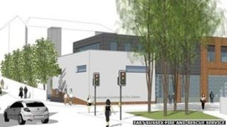 Artist's impression of the new fire station in Newhaven