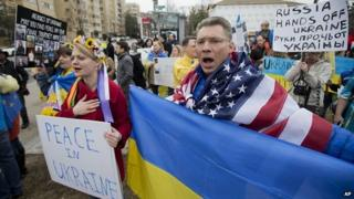 Ukraine protest outside the Russian embassy in Washington. 2 March 2014