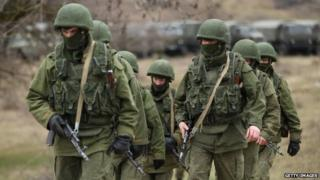 Soldiers near Perevanie military base in Crimea