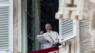 The Pope speaks in St Peter's Square