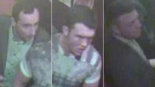 CCTV images of three men police are seeking in connection with an assault on Rugby League player Sean Gleeson
