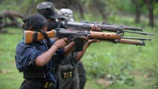Indian Maoists in Bijapur district in Chhattisgarh