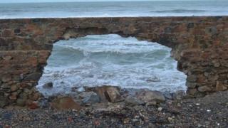 The Vazon sea wall