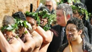 Maori King Tuheitia at his mother's funeral in 2006