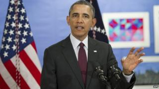 US President Barack Obama comments on the situation in Ukraine following a tour of a classroom at Powell Elementary School for an event on the Fiscal Year 2015 budget in Washington, DC,4 March 2014