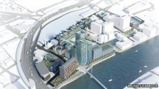An aerial visualisation of City Quays