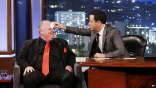 Toronto Mayor Rob Ford, left, at the Jimmy Kimmel show in Los Angeles 3 March 2014
