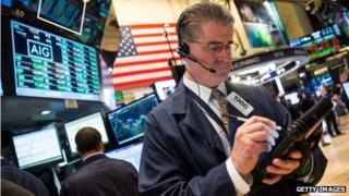 Trader on floor of NYSE