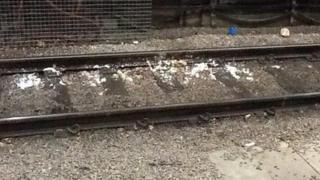 Toilet mess on the tracks