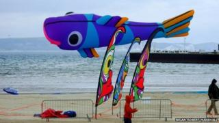 A fish kite at Weymouth Kite Festival