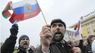 Pro-Russian demonstrators take part in a rally in front of regional government building in Ukraine's second city of Kharkiv