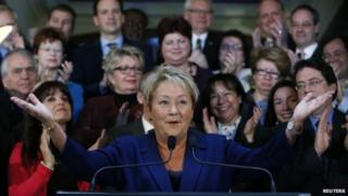 Quebec's Premier Pauline Marois speaks during a news conference before calling an election at the National Assembly in Quebec City, 5 March 2014