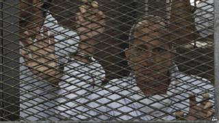 Peter Greste stands inside the defendants cage during his trial for allegedly supporting the Muslim Brotherhood