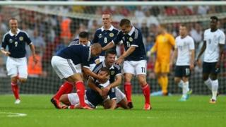 Scotland celebrating Wembley goal