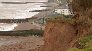 Eroding cliff in Sidmouth, Devon