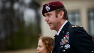 Brig Gen. Jeffrey Sinclair leaves the courthouse following a day of motions, Fort Bragg, North Carolina 4 March 2014