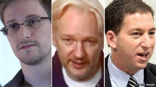 Edward Snowden, Julian Assange, Glenn Greenwald