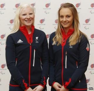 Kelly Gallagher (left) and her guide Charlotte Evans