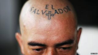 A tattoo is pictured on the head of a gang member during an event where gangs signed a truce in the municipality of Ciudad Delgado, in San Salvador in this May 29, 2013 file photo