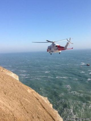 The rescue at Cattle Troughs, west of Anvil Point, Swanage