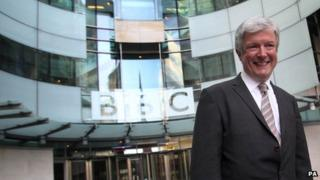 Tony Hall in front of BBC