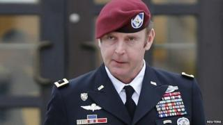 US Army Brigadier General Jeffrey Sinclair leaves the courthouse at Ft. Bragg in Fayetteville, North Carolina 4 March 2014