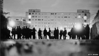 Police officers in riot gear on the Broadwater Farm housing estate