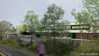 Artist impression of new supermarket in Ripley