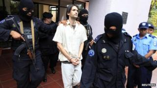 Eric Justin Toth was escorted by authorities in Managua, Nicaragua, on 22 April 2013