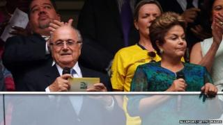 Dilma Rousseff (right) and Sepp Blatter (left), Brasilia stadium, 15 June 2013
