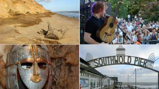 Covehithe (by Evelyn Simak), Ipswich Music Day (by Jen O'Neill), Sutton Hoo and Southwold Pier (by Graham Horn)