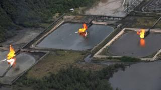 Gas flare at Shell Cawtharine Channel, Nembe Creek in the Niger Delta