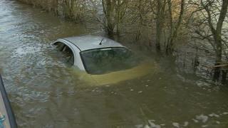 Submerged car