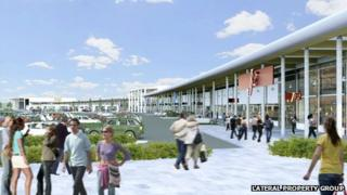 Artist's impression of new Glasshoughton retail development