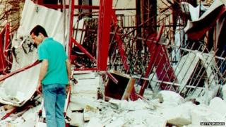 The aftermath of the bombing that killed Borsellino