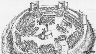 Artist impression shows how the Playing Place outdoor theatre may have been