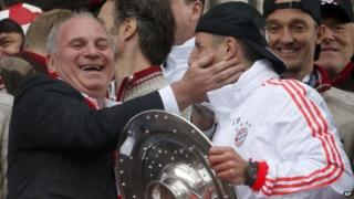 Uli Hoeness and Franck Ribery (2 June 2014)