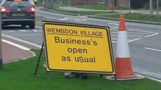 Sign near Wembdon in Somerset